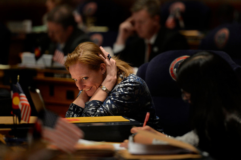 . Majority Leader Morgan Carroll reacts as the opposition winds down during debate of  HB13-1229 as the Denver Senate prepares for the final vote and passage concerning criminal background checks at the Denver State Capitol March 11, 2013 Denver, Colorado. (Photo By Joe Amon/The Denver Post)