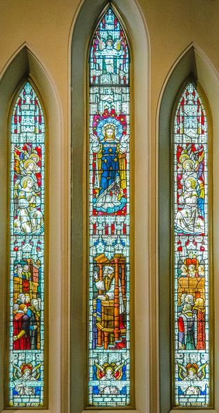 Christ in Glory, and a Reformer (Hugh Latimer or Nicholas Ridley) preaching to Edward VI (1537-1553) <br> glass by Clayton & Bell, London
