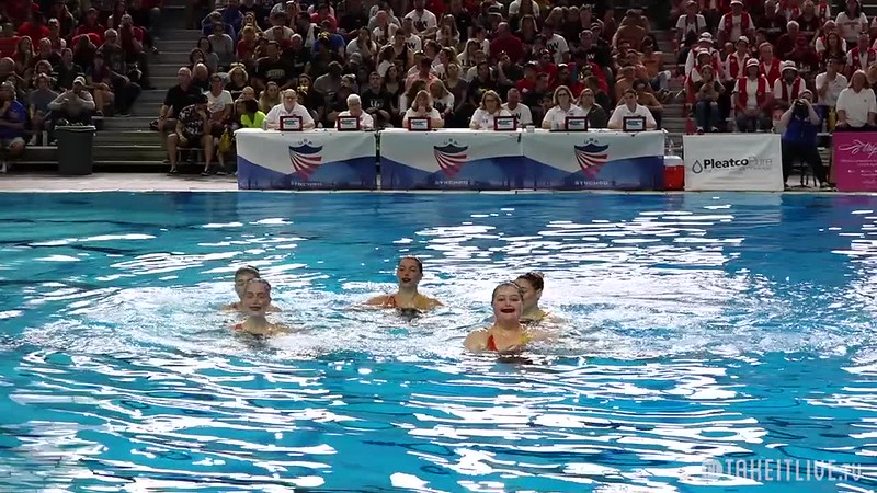 Collegiate Open Team Free Final - 2019 US Collegiate Nationals  - BOSTON UNIVERSITY SYNCHRO 62.9167  BEST, Laura  ECONOMY, Mary  FUSAR POLI, Federica  SMITHING, Julia  SUAREZ, Allison