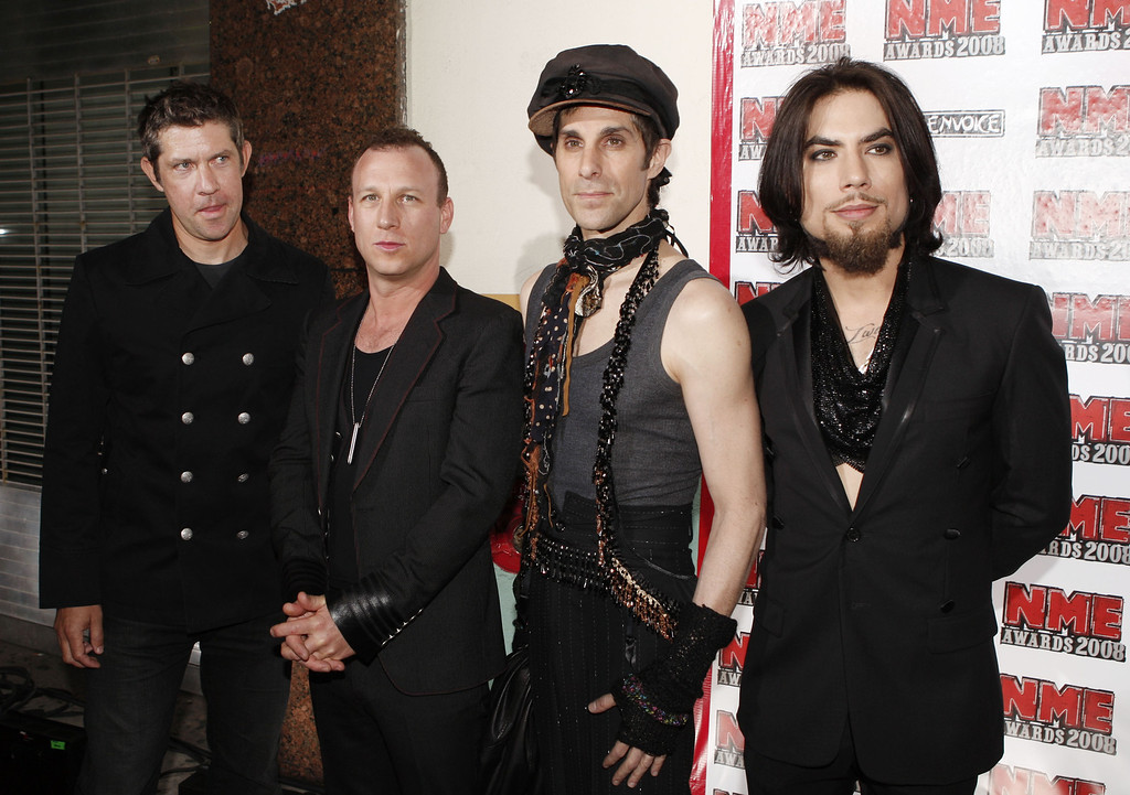 . LOS ANGELES - APRIL 23:  (L to R) Musicians Eric Avery, Stephen Perkins, Perry Ferrell and Dave Navarro, of the rock band Jane\'s Addiction, arrive at the 1st Annual U.S. NME Awards at the El Rey Theater on April 23, 2008 in Los Angeles, California. (Photo by Kevin Winter/Getty Images)
