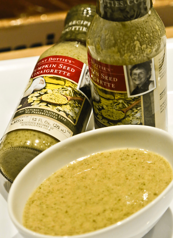 . Aunt Dottie\'s Pumpkin Seed Vinaigrette is unveiled at a press preview as a 2017 Sofi specialty foods new product winner in the salad dressing category, Thursday, June 22, 2017, in New York. The product is among thousands of food and beverage items from more than 2,600 food artisans, importers and entrepreneurs from the around the globe at the annual Summer Fancy Food Show at the Javits Center. (AP Photo/Bebeto Matthews)