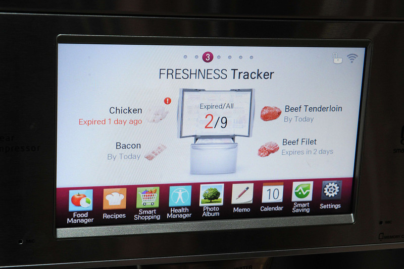 . The display embedded in the front of a LG smart refrigerator on the final day of the 2014 International CES, January 10, 2014 in Las Vegas, Nevada. The LG Smart Home system with the Home Chat smart platform allows users to communicate with home appliances via text message. (Robyn Beck/AFP/Getty Images)