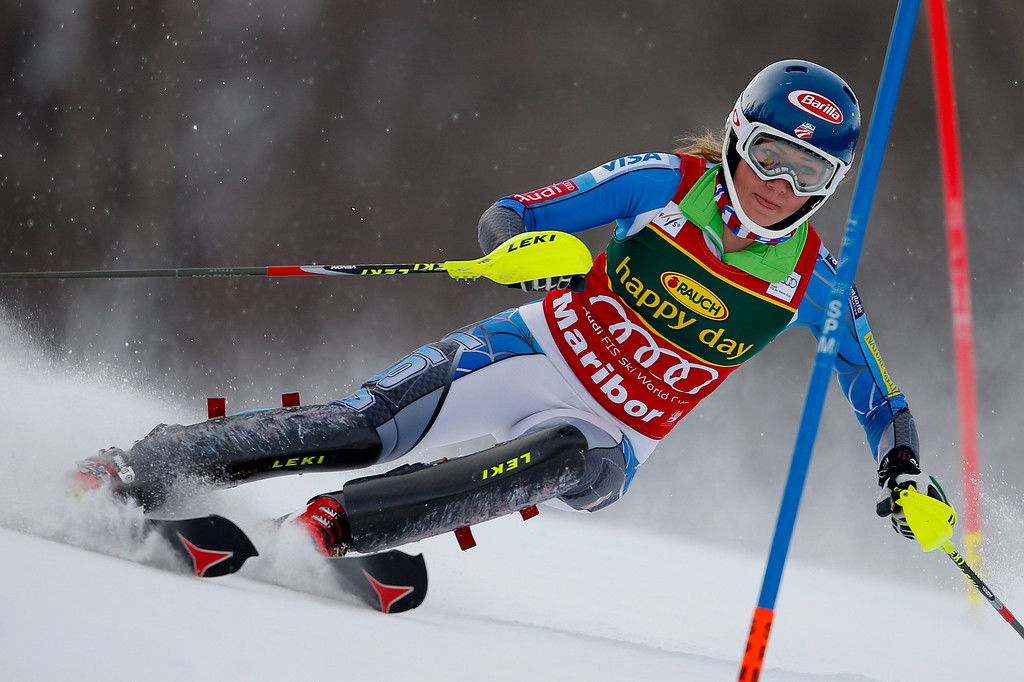 . Mikaela Shiffrin of the USA competes during the Audi FIS Alpine Ski World Cup Women\'s Slalom on January 27, 2013 in Maribor, Slovenia. (Photo by Stanko Gruden/Agence Zoom/Getty Images)