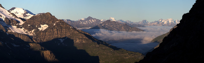 Rising sun on Maurienne and Ecrins Massifs (Savoie)