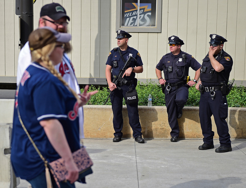 . Police officers stand guard before Game 4 of the basketball\'s NBA Finals between the Cleveland Cavaliers and the Golden State Warriors, Friday, June 9, 2017, in Cleveland. (AP Photo/David Dermer)