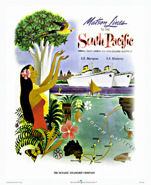 111: 'See The Pacific' Hawaiian cruise line travel poster. Ca. 1950.