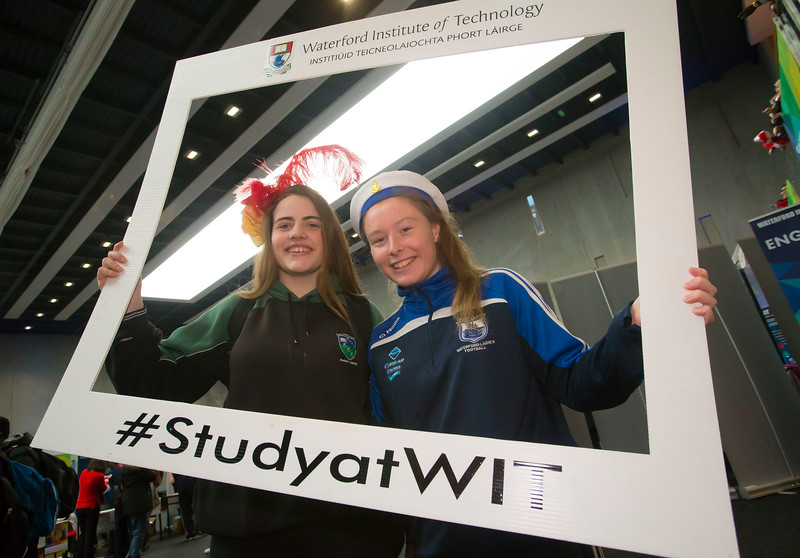 20/01/2017.  Waterford Institute of Technology (WIT) open day at WIT Arena. Pictured are Rachel Stephens and Abbie Dunphy from Gaelcholáiste Phort Láirge Picture: Patrick Browne