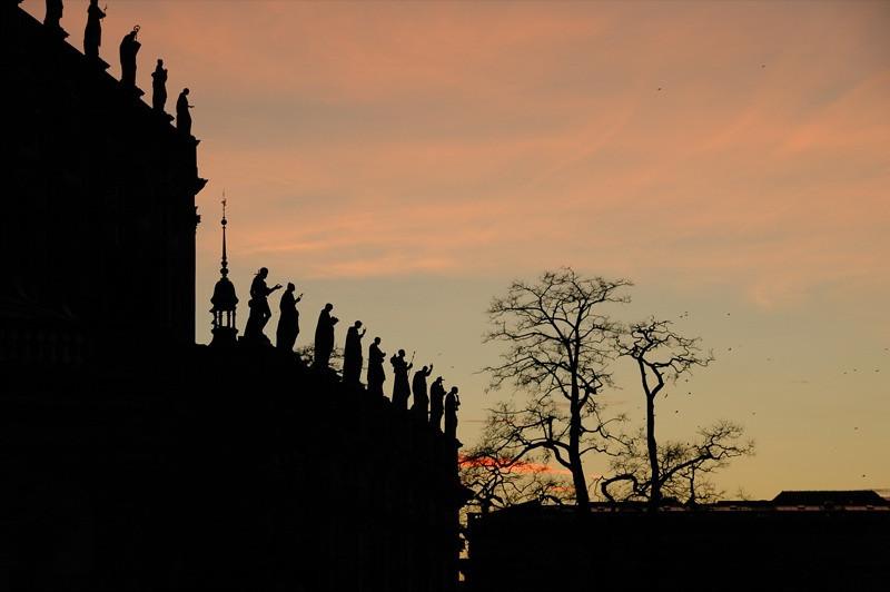 Catholic Church (Catholic Hofkirche) at Sunset - Dresden, Germany