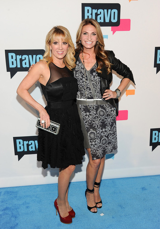 ". Ramona Singer, left, and Heather Thomson from ""The Real Housewives of New York City\"" attend the Bravo Network 2013 Upfront on Wednesday April 3, 2013 in New York. (Photo by Evan Agostini/Invision/AP)"