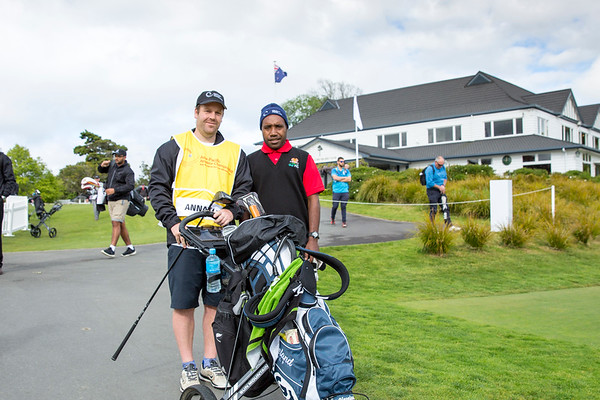 Morgan Annoto from Papau New Guinea with his caddy after hitting off the 1st tee on Day 1 of competition in the Asia-Pacific Amateur Championship tournament 2017 held at Royal Wellington Golf Club, in Heretaunga, Upper Hutt, New Zealand from 26 - 29 October 2017. Copyright John Mathews 2017.   www.megasportmedia.co.nz