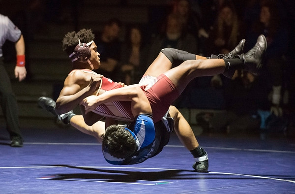 02/10/20 Wesley Bunnell | StaffrrSouthington defeated New Britain at home on Wednesday night. Southington's Billy Carr vs Jabari Destine in the 170lb match.