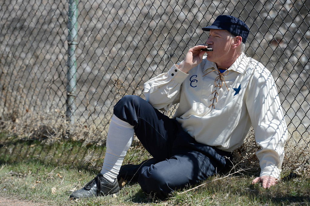. DENVER, CO. - APRIL 14: Tim Heine of the Central City Stars plays the harmonica during their vintage game against the Denver Blue Stockings April 14, 2013 at  Riverside Cemetery in Denver. (Photo By John Leyba/The Denver Post)