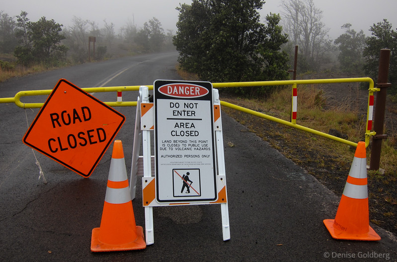 Crater Rim Drive was open from Chain of Craters Road to the Jaggar Museum. A good chunk of the road was closed because of the sulphur dioxide plume rising from Halema`uma`u Crater.