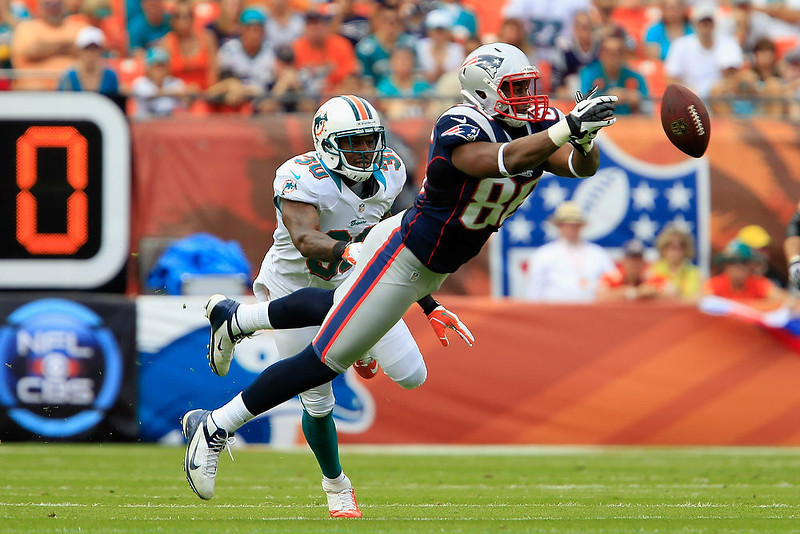 . Tight end Daniel Fells #86 of the New England Patriots misses a catch as strong safety Chris Clemons #30 of the Miami Dolphins looks on at Sun Life Stadium on December 2, 2012 in Miami Gardens, Florida.  (Photo by Chris Trotman/Getty Images)