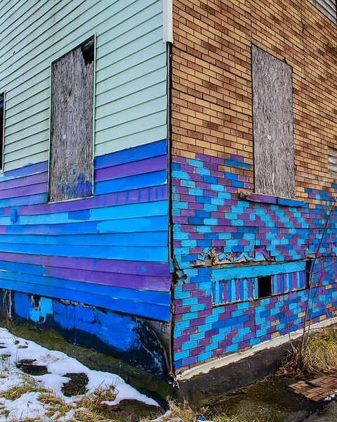 Blue Derelict Building, East Side Detroit