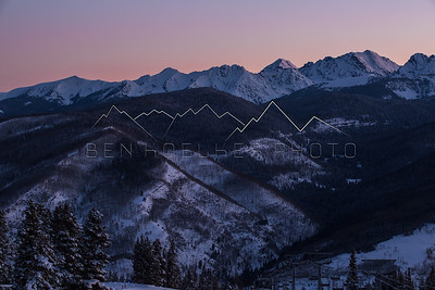 Alpenglow at sunrise in the Gore Range, CO