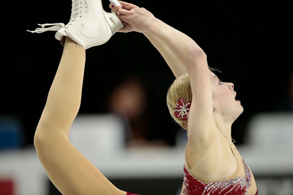 . Gracie Gold of the US skates during the Ladies Short Program at the 2013 World Figure Skating Championships March 14, 2013 in London, Ontario, Canada. Skaters from around the globe are competing in the four day event to become the world champions in mens, ladies, pairs and ice dance figure skating.  GEOFF ROBINS/AFP/Getty Images