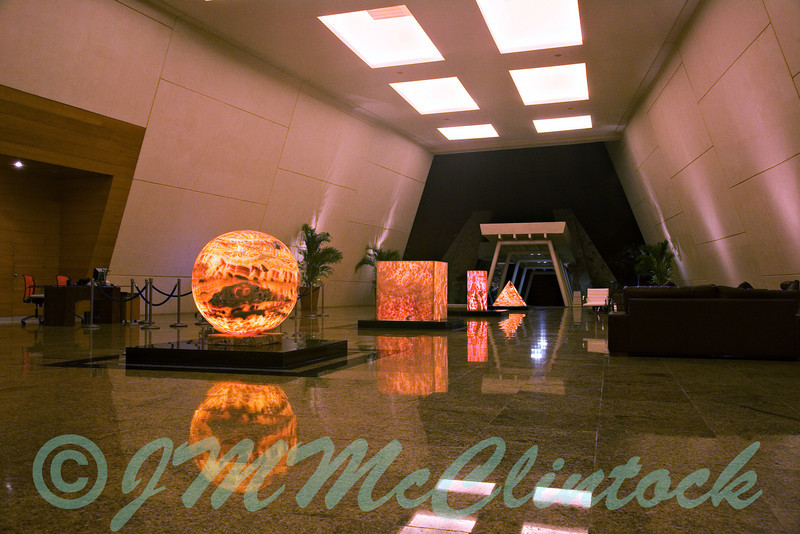 This is one of the upper lobbies of the Grand Sirenis at night.