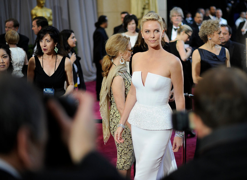 . Actress Charlize Theron arrives at the 85th Academy Awards at the Dolby Theatre in Los Angeles, California on Sunday Feb. 24, 2013 (Hans Gutknecht, staff photographer)