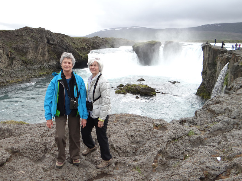 Marion and Connie at Godafoss