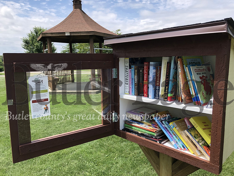 The Little Free Library box in Adams Township Community Park.