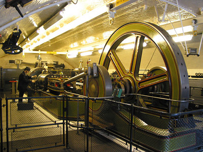 The old steam engines for raising the deck of Tower Bridge.