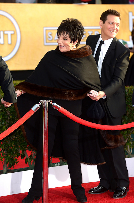 . Liza Minnelli arrives at the 20th Annual Screen Actors Guild Awards  at the Shrine Auditorium in Los Angeles, California on Saturday January 18, 2014 (Photo by Michael Owen Baker / Los Angeles Daily News)