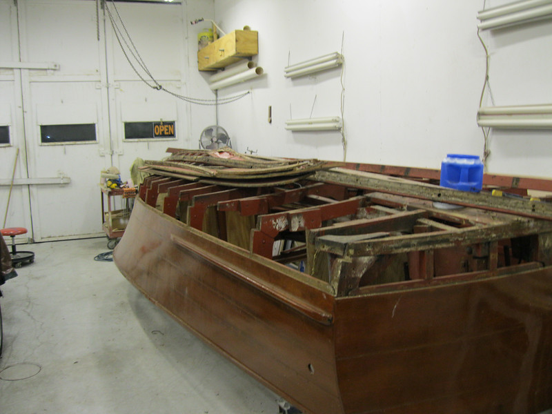 Rear starboard view of bottom plank and chine removed.