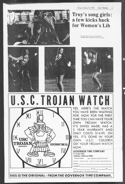 Daily Trojan, Vol. 62, No. 28, October 30, 1970