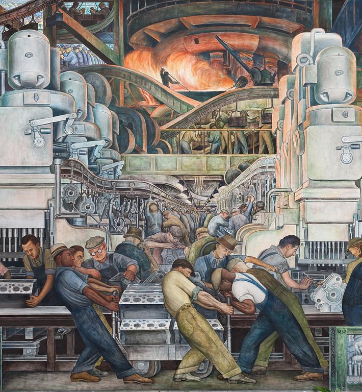 . Detroit Industry, north wall (detail), Diego Rivera, 1932-33, fresco. Detroit Institute of Arts
