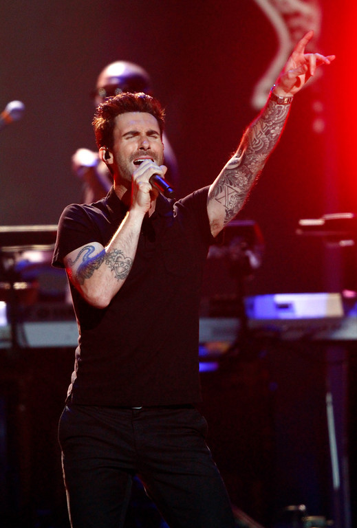 . Adam Levine, of the musical group Maroon 5, performs at the Grammy Nominations Concert Live! at Bridgestone Arena on Wednesday, Dec. 5, 2012, in Nashville, Tenn. (Photo by Wade Payne/Invision/AP)