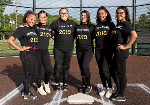 05/17/18 Wesley Bunnell | Staff New Britain softball defeated Wethersfield on Thursday afternoon at Chesley Park. Graduating seniors Nariely Andujar (2), Cristina Velazquez (3), Gabriella Roy (11), Gianna Gonzales (4), Jada Lawson (9) and Chastity Sanchez (1).