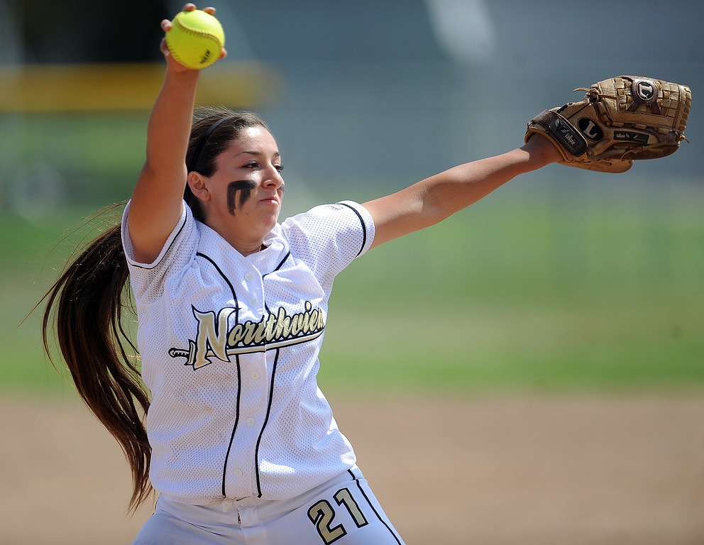 . Northview\'s Ana Mejia (C) throws to the plate in the first inning of a CIF-SS quarterfinal playoff softball game against Barstow at Northview High School on Thursday, May 23, 2013 in Covina, Calif. Northview won 5-4.  (Keith Birmingham Pasadena Star-News)