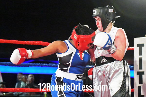 Bout #10:  Kelisha Evans, Red Gloves, Capital Punishment BC, Cincinnati, OH   vs   Serenity Mowry, Blue Gloves, Strosngstyle BC, Dayton, OH,  152 Lbs.