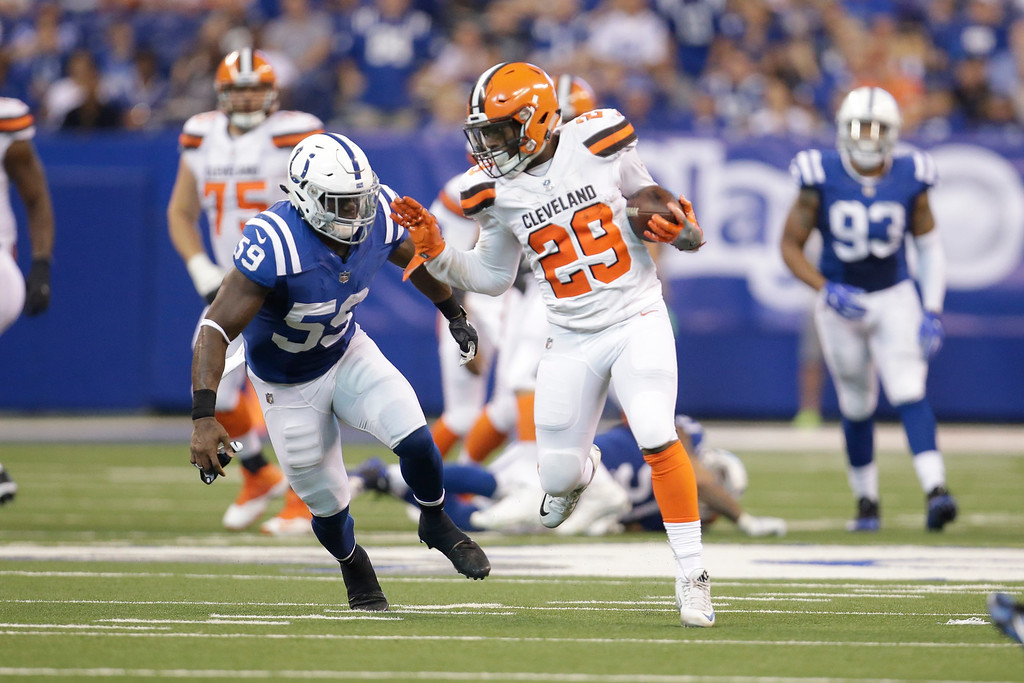 . Indianapolis Colts linebacker Sean Spence (55) chases Cleveland Browns running back Duke Johnson (29) during the second half of an NFL football game in Indianapolis, Sunday, Sept. 24, 2017. (AP Photo/AJ Mast)