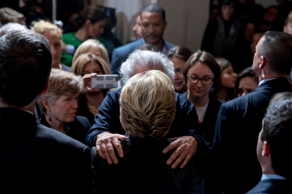 . Democratic presidential candidate Hillary Clinton greets a supporter after speaking at the New Yorker Hotel in New York, Wednesday, Nov. 9, 2016, where she conceded her defeat to Republican Donald Trump after the hard-fought presidential election. (AP Photo/Andrew Harnik)
