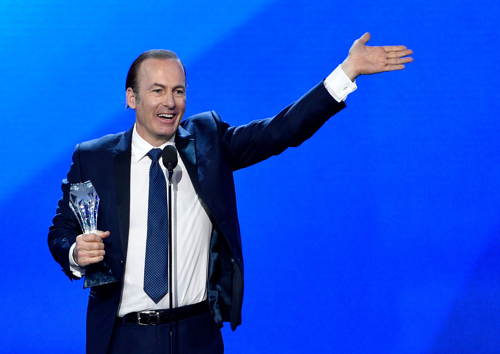 """. Bob Odenkirk accepts the award for best actor in a drama series for \""""Better Call Saul\"""" at the 22nd annual Critics\' Choice Awards at the Barker Hangar on Sunday, Dec. 11, 2016, in Santa Monica, Calif. (Photo by Chris Pizzello/Invision/AP)"""
