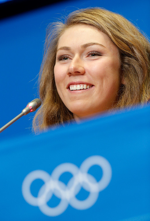 . U.S. skier Mikaela Shiffrin smiles during a U.S. ski team press conference at the Gorki media centre at the Sochi 2014 Winter Olympics, Saturday, Feb. 15, 2014, in Krasnaya Polyana, Russia. Shiffrin, an 18-year-old from Eagle-Vail, Colo., will be favored to win the gold medal in the women\'s slalom at the Sochi Olympics next week. She\'s also a contender for a medal in the giant slalom. (AP Photo/Christophe Ena)