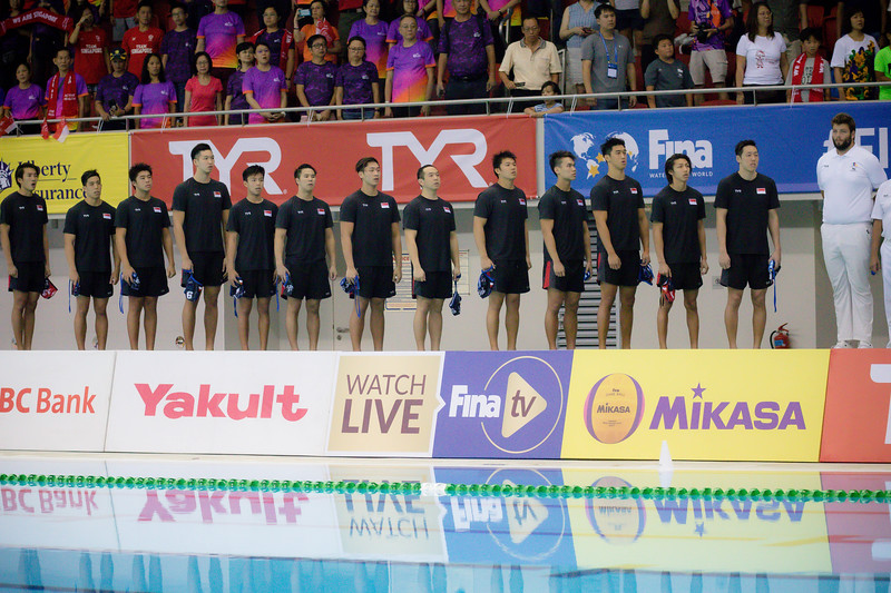 Singaore Players during the national anthem play at FINA Waterpolo 2019 at the OCBC Aquatic Centre  at Singapore on 12th oct 2019. Photo by Sanketa Anand/Sport Singapore