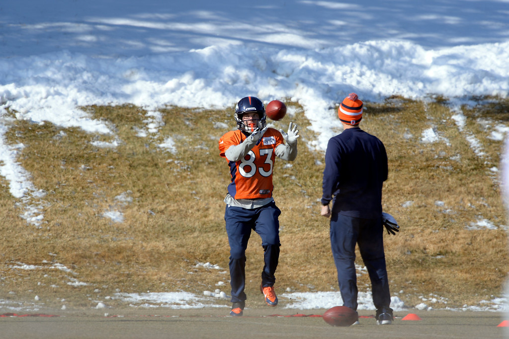 . Denver Broncos wide receiver Wes Welker (83) catches a pass during practice January 23, 2014 at Dove Valley.   (Photo by John Leyba/The Denver Post)