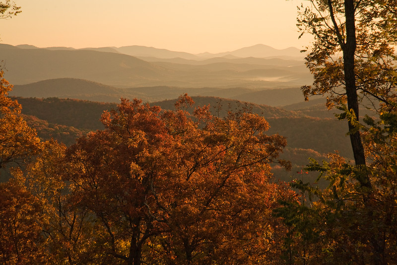 Morning view from the Len Foote Hike Inn at Amicalola State Park