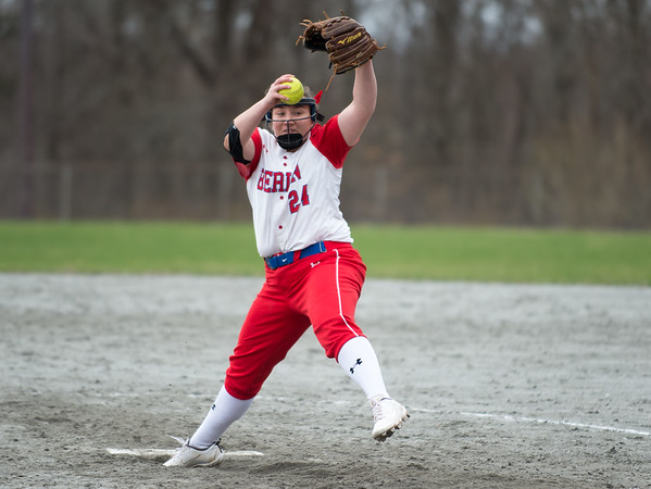 04/12/19 Wesley Bunnell | Staff Berlin softball defeated Platt Tech in an afternoon home game at Sage Park on Friday. Stefanie Poulin (24).