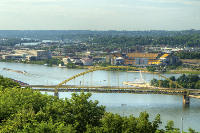 View of the Fort Duquesne Bridge at the North Shore in Pittsburgh, PA on Friday, August 14, 2015. Copyright 2015 Jason Barnette