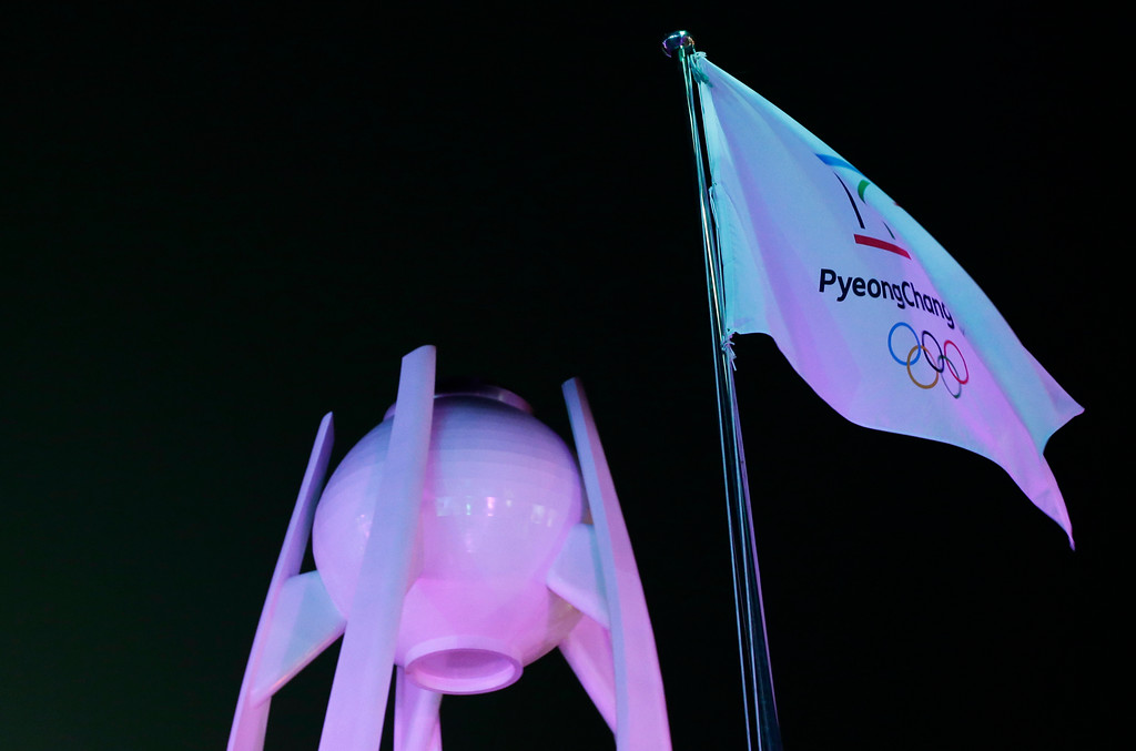 . The extinguished Olympic cauldron stands during the closing ceremony of the 2018 Winter Olympics in Pyeongchang, South Korea, Sunday, Feb. 25, 2018. (AP Photo/Aaron Favila)