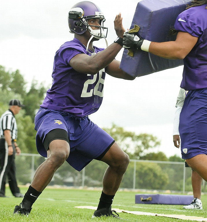 . Minnesota Vikings running back Adrian Peterson at Vikings training camp in Mankato, Minn., on Friday, July 26, 2013. (Pioneer Press: Ben Garvin)
