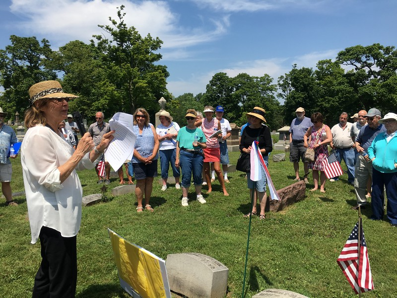 Gloria Brown, author of Images of America: Medina, was one of the presenters Saturday during the 11th annual Spring Grove Historical Walk. BOB SANDRICK / GAZETTE