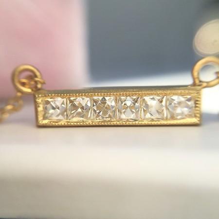 .37ctw French Cut Diamond Bar Pendant