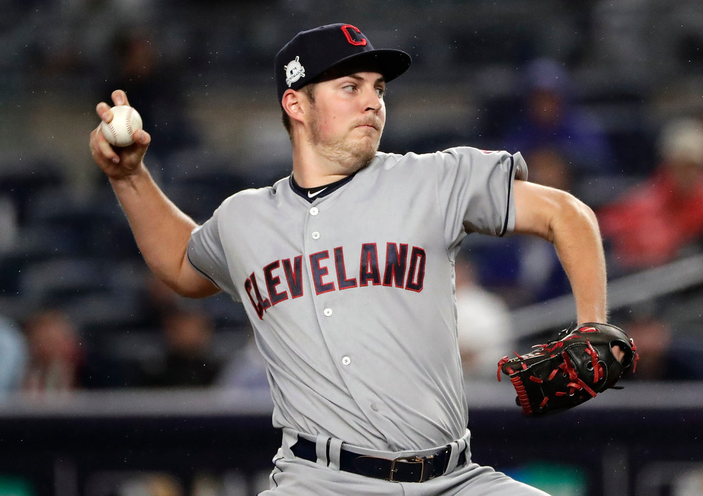 . Cleveland Indians pitcher Trevor Bauer delivers against the New York Yankees during the first inning in Game 4 of baseball\'s American League Division Series, Monday, Oct. 9, 2017, in New York. (AP Photo/Frank Franklin II)