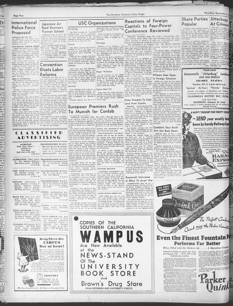 Daily Trojan, Vol. 30, No. 9, September 29, 1938