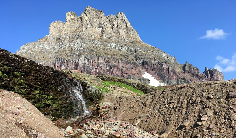 Little waterfall, big rock